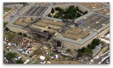 Aerial photo of the Pentagon, showing the damage caused by hijacked American Airlines Flight 77 on the morning of September 11, 2001.
