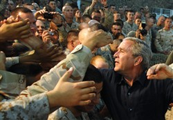 President Bush visits with troops at Al-Asad Air Base in Anbar Province
