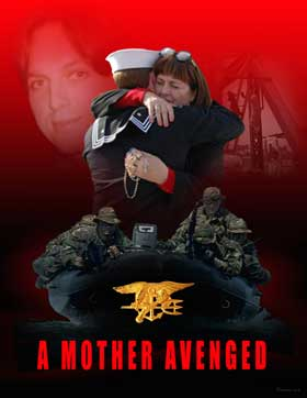 A Mother Avenged:  Poster by Jeff Preston depicting Donna Zovko, mother of murdered Blackwater employee Jerry Zovko, hugging Navy SEAL Matthew McCabe, one of three SEALs who captured Ahmed Hashim Abed, the man allegedly the leader of the group responsible for her son's murder.