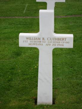 Final resting place of William Cuthbert at the American Cemetery, Normandy.