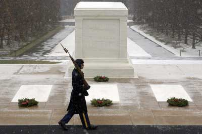 Christmas at Tomb of the Unknowns at Arlington National Cemetery