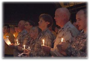 American troops in Djibouti take time to sing Christmas carols.