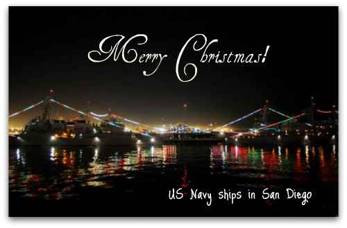 US Navy ships decorated for Christmas at Naval Station San Diego.
