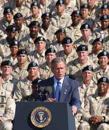 President George W. Bush addresses the troops
