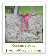 Custom purses from military uniforms by Hero on My Arm