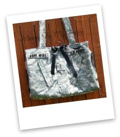 Hero on My Arm custom purses made from military uniforms