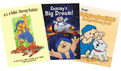 Sammy Rabbit teaches money management for kids with these books and coloring books.