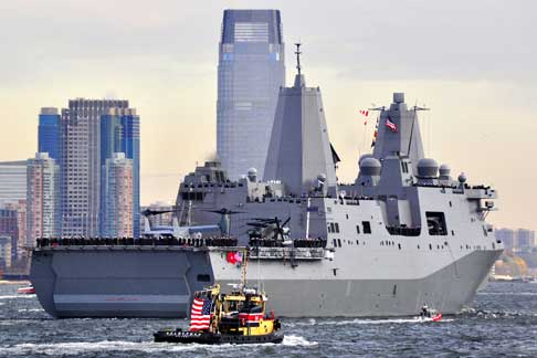 USS New York arrives in New York Monday, November 2.
