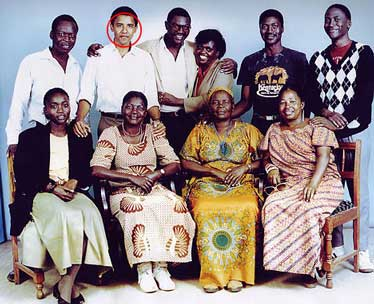 Democratic Presidential hopeful Barack Obama with his extended family in Kenya