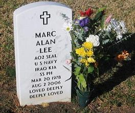 Grave marker for Marc Alan Lee, the first Navy SEAL killed in Operation Iraqi Freedom.