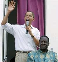 Barack Obama and Kenya Presidential candidate Raila Odinga