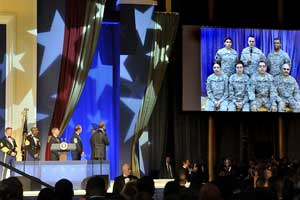 President Obama speaks with troops in Kabul at the Commander-in-Chief Inaugural Ball