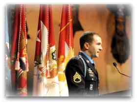 SSG Salvatore Giunta speaks after receiving the Medal of Honor.