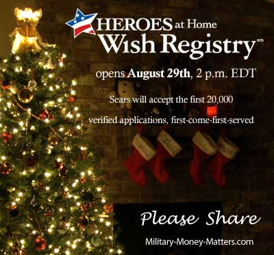 Sears Heroes at Home Wish Registry opens on August 29, 2013