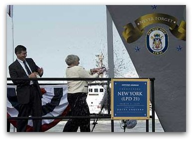 USS New York (LPD-21) is christened by Mrs. Dotty England