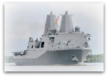 USS New York, LPD-21, sails down the Mississippi River.  US Navy photo.